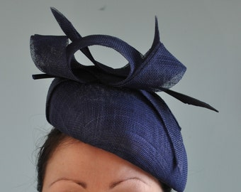Navy Blue Beret Navy Fascinator Hatinator with Arrow Feather