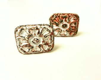 Vintage gunmetal  cufflinks. Flower