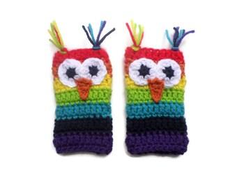 Rainbow Owl Fingerless Gloves - Crochet Owl Gloves - Crochet Rainbow Wrist Warmers -