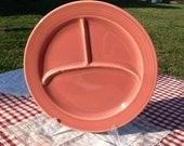 Vintage Rose Colored Fiestaware Divided Dinner Plate