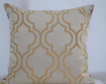 Moroccan  Pattern Pillow Cover, Gold Pillow Cover,Patterned Pillow Cover,Geometric Pillow Cover,Trellis Pillow Cover