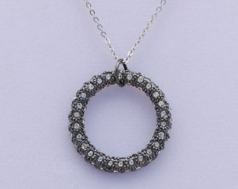 Vintage Midnight Crystal Pave' Ring Necklace