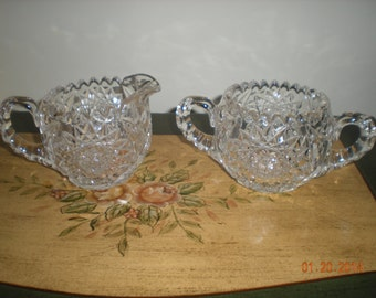 Vintage Hand Cut Lead Crystal Glass Cream And Sugar Condiment China Set in Mint Condition