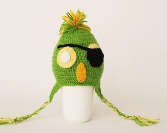 Crochet PIRAT PARROTbaby hat, Hat, Toddler hat ,children hat ,Newborn hat ,toddler crochet hat ,baby hat