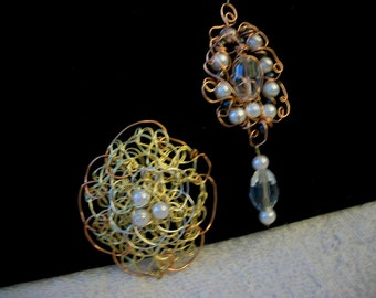 Wire Weaving Handmade 1.Copper Oval or 2 .Copper Dangly Necklace Great Mother's Day, Birthday or Anniversary Gift