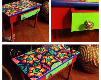 Hand Painted Colorful Sunflower Side Table with Drawer