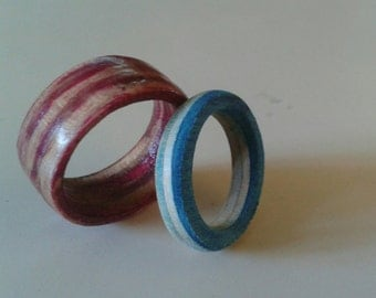 Recycled Skateboard Ring Handmade Upcycled Repurposed Many Sizes Colors Shapes and Widths Layers available Custom