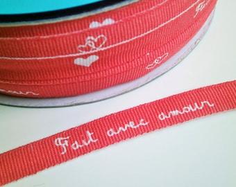 "1 m Printed  Ribbon ""Fait avec amour"" 10 mm w."