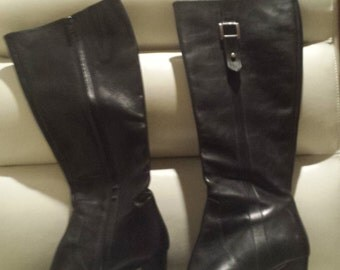 Bohemian Chic Italian Brooks Brothers High Heel Black Leather Boots 9