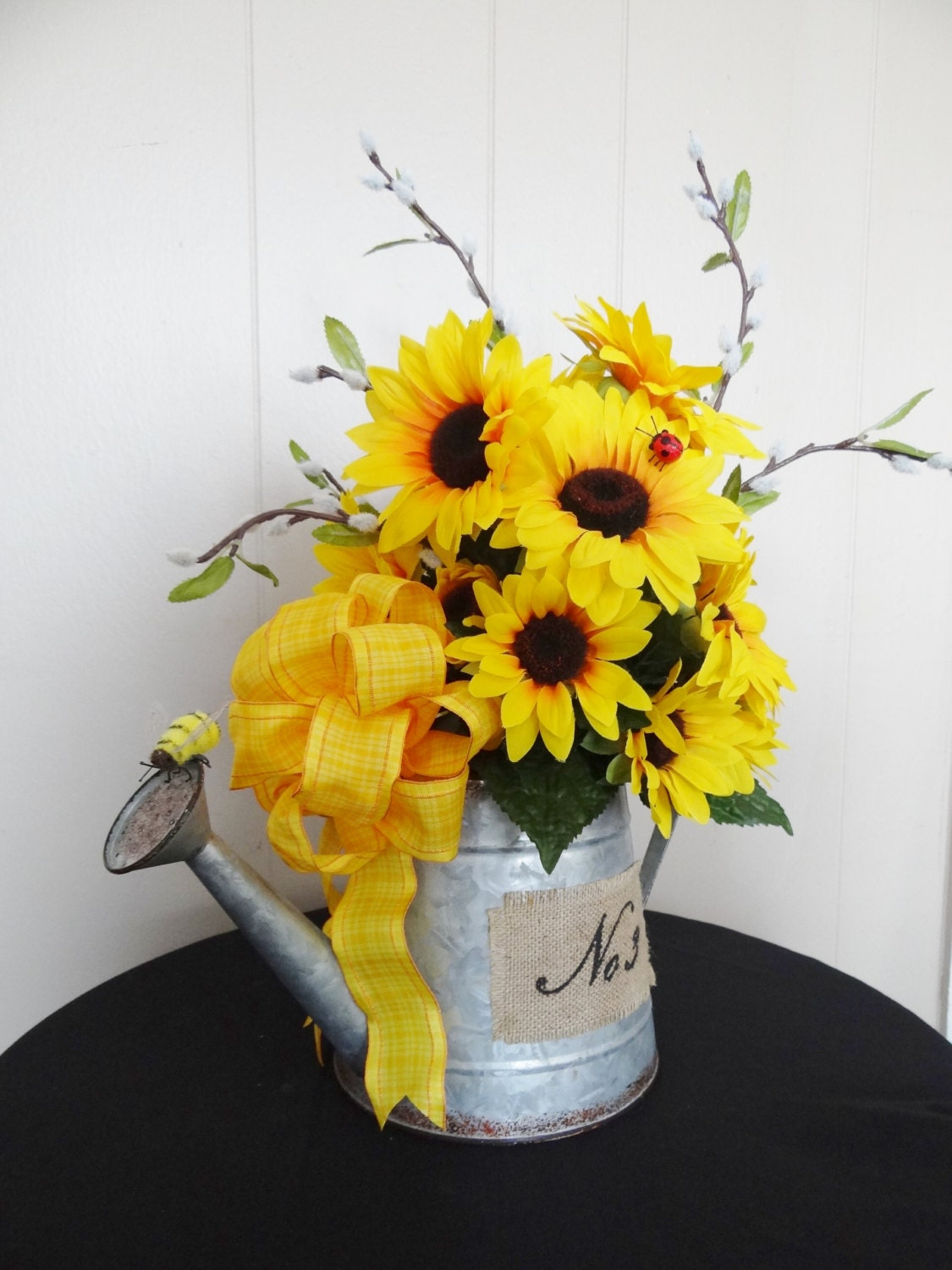Sunflower watering can spring flower arrangement for Artificial bees for decoration