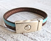 Leather bracelet brown and turquoise - Charmecharming