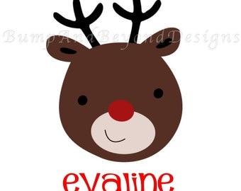Christmas Iron on Transfer DIY - My 1st Christmas Red Green Christmas Reindeer Christmas Girl Boy Iron On Custom Personalized Name - Evaline