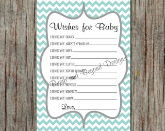 Printable Baby Shower Game Wishes for Baby Instant Download Light Teal Grey Chevron Baby Shower Games - 077