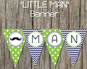 Mustache Banner Printable Baby Shower Pennant Banner Little Man INSTANT DOWNLOAD Navy Blue Green PDF 022