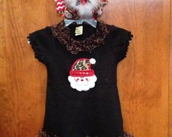 Santa Black dress with leopard print ruffle