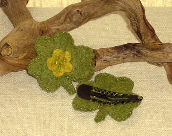 Felt Shamrock Hair Clip, St. Patrick's Day Shamrock Barrett - Wool Felt Lucky Shamrock Hair Clip* Ready to ship