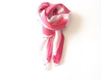 red, pink and white hand painted silk scarf