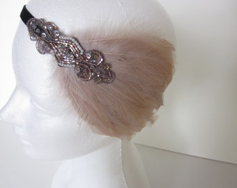 Rose gold wedding headband, rose gold bridal headpiece, feather fascinator, 1920s Great gatsby headpiece beige feather fascinator, 1920s