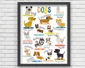 Dogs Wall Art Print Home Decor, Dogs Art Print - 8x10 or 11x14