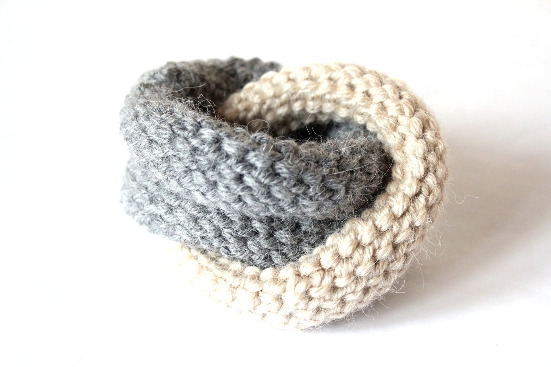 knot bracelet grey bracelet wool bracelet knitted by