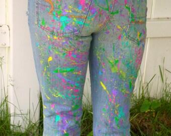 CUSTOM Paint Splatter Jeans, Neon Paint Splatter, 80's Clothing, Festival Clothing, Hand Painted Artist jeans