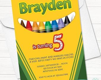 Crayola Crayon Birthday Invitation - Digital File - Printable