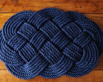 Navy Cotton Rope Rug - Navy Bath Mat - Nautical Decor - Nautical Gift - (29 x 18)