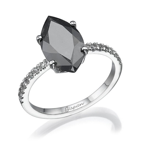 Marquise Black Diamond Engagement Ring White Gold With White