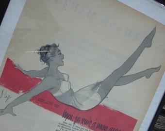 Vintage framed advertising print for Scandale mid century France.