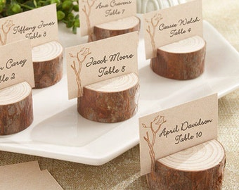10 Rustic Wedding Place Card Holders Tree Slices Decor  Wood Disc Tree Log Round
