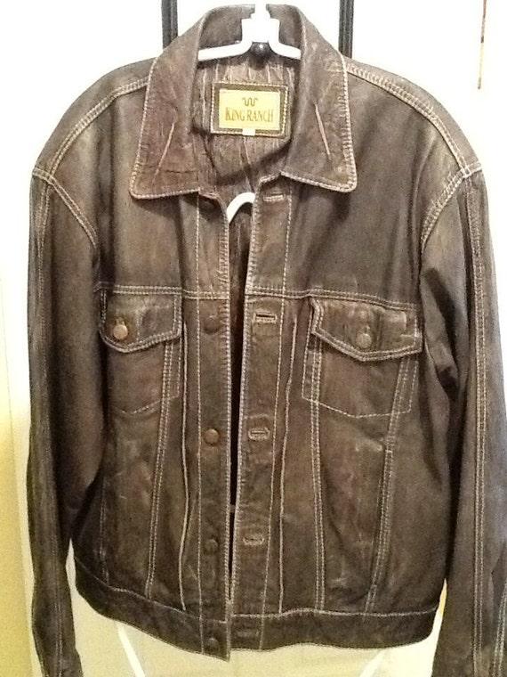 Vintage Men S King Ranch Distressed Leather Jacket Sz