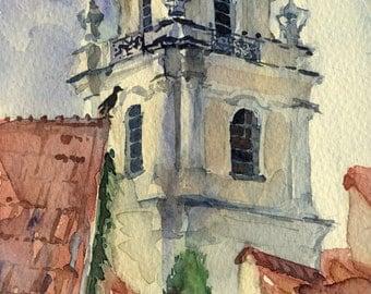 """Print of watercolor painting - architecture painting - Vilnius """"Vilniaus Universitetas"""" paper"""