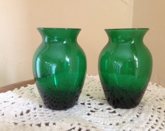 """Vintage pair of Matching Green Glass  Bud Vases- 3 1/4"""""""