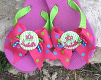 GIRLS FLIP FLOPS, Childrens, Kids, Polka Dot Bows, Princess, Embroidered Crown Design, Personalized, Monogrammed, Great Birthday Gift