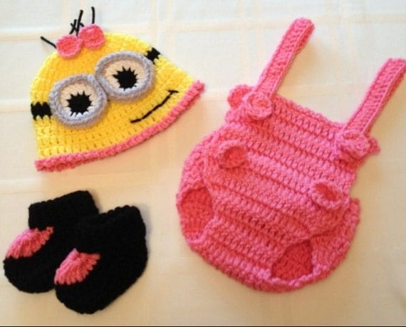 Crochet Patterns For Baby Overalls : NICU Baby Girl Minion Outfit/Set Pink w/ Hat by FussButtons
