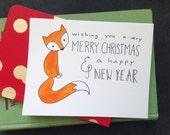 Set of 8: Winter Fox Christmas / Holiday Card