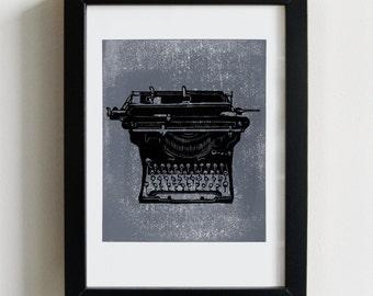 Vintage Typewriter print - black and grey print, typewriter linocut, underwood typewriter print