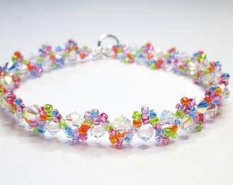 Rainbow bracelet, summer bracelet,, bicone bracelet, seed bead bracelet, swarovski bracelet, crystal AB, BR002