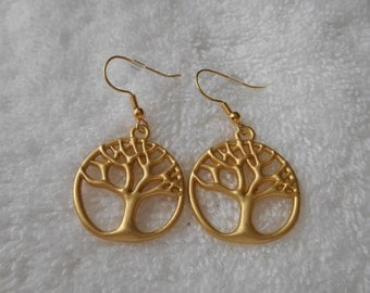 Handmade tree of life dangle earrings