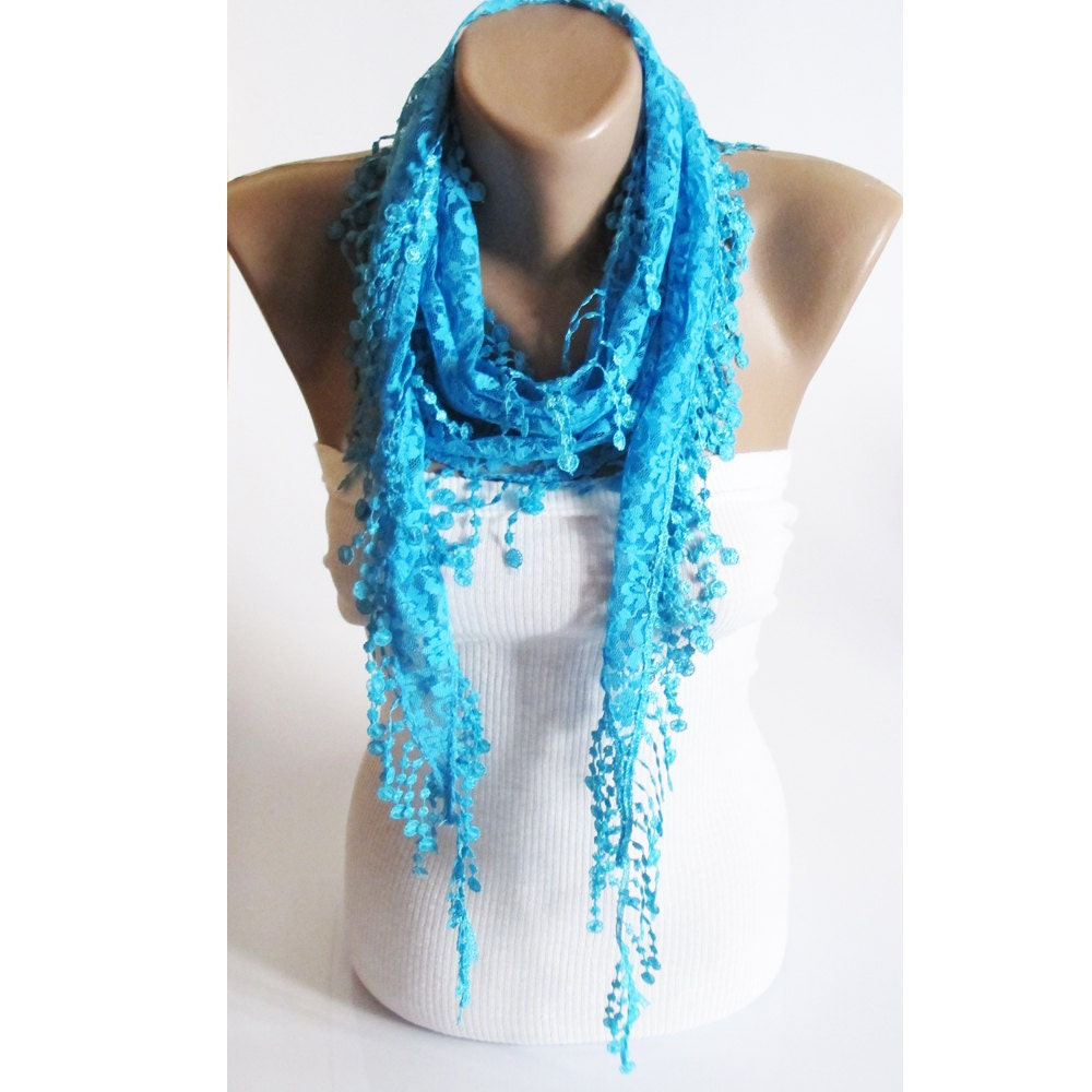 lace scarf turquoise scarf scarves scarf lace scarf by