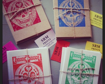 Handprinted Skull Stationary Packs.