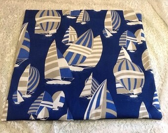 Nautical Sailboat Fabric Pillow Covers in Tan Blue White 20 x 20