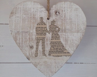 Wedding couple wooden heart decoration (can be personalised)