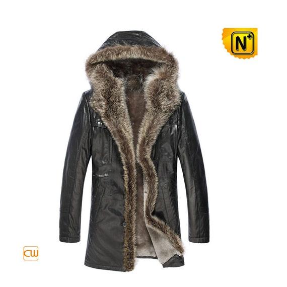 Mens Sheepskin Raccoon Fur Coat CW877158