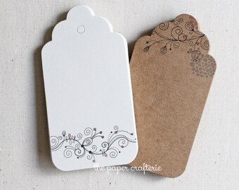 Floral Scroll Bookmark Kraft Paper Scallop Gift Tag - Set of 20