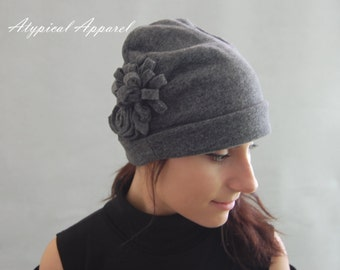 Women's Fall / Winter Hat. Fleece Hat. Ladies Grey Fleece Hat. Elegant Hat. Two  Layers of  Fleece Worm Hat. Warm and Cozy Fleece Hat.