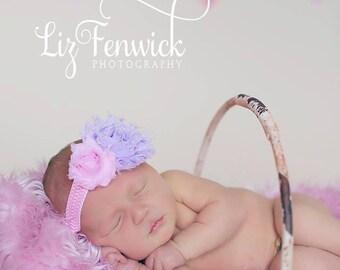 Pink and Lavender Shabby Flowers on Chevron Headband... Newborn, Baby, Girls Photo Prop Bow