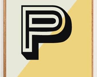 Mid-Century Modern Letter P