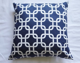 Gotcha Link Chain Link Navy Blue / White Home Decor Throw PILLOW CASE / Pillow Cover Home Accent with different sizes available