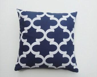 Navy Blue FYNN pattern 100% cotton HOme Decorative throw Pillow case / Cushion Cover / Home Accent / lumbar / kidney pillow